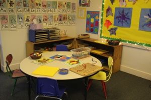 Preschool and pre-k manipulative toy table at Children's Co-Op Preschool in Bellingham