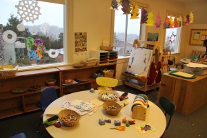 Preschool and pre-k art station at Children's co-op preschool in Bellingham, wa