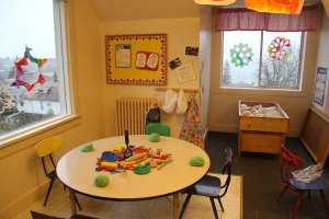Preschool playdough and sensory table at Children's co-op preschool in Bellingham