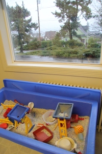 Toddler class sensory table at Children's Co-Op Preschool in Bellingham, WA