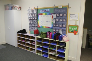 Parent/child cubby room (shows preschool and pre-k but not toddler cubbies) at Children's Co-Op Preschool